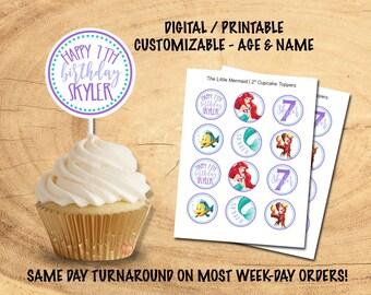 THE LITTLE MERMAID Cupcake Toppers | Digital/Printable
