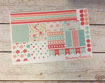 Shabby Chic Floral Themed Planner Stickers- Made to fit Horizontal Layout