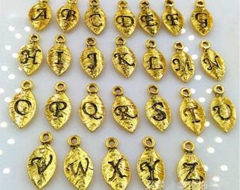 Leaf charm/initial/leaf initial charm/silver leaf charm/gold leaf charm/personalized/add on