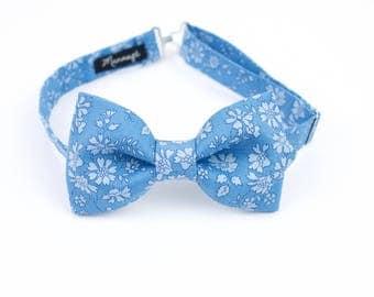 "Bow tie in Liberty, ""Capel"" blue, adjustements, bow tie man pré-noué, wedding accessory"