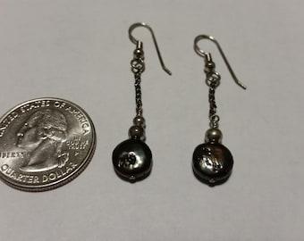 Vintage sterling silver black pearl earrings badr