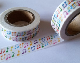 Small colorful Music Notes Washi Tape