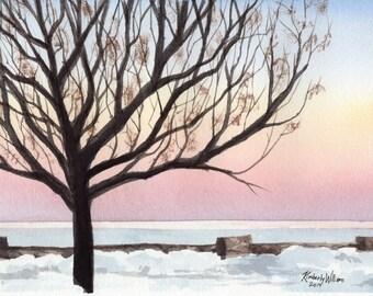 Winter Sunrise - Original Watercolor Painting