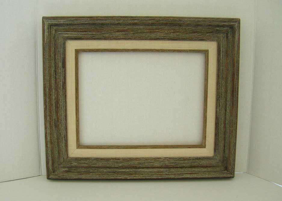 rustic distressed barn wood open back art frame weathered grey with linen vintage 1970s unused 9 x 12 art canvas decorative