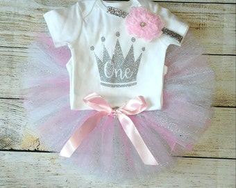 1st Birthday Girl Outfit Girls Birthday Outfit First Birthday Outfit Pink Silver Cake Smash Photo Prop Personalize Customize