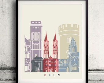 Caen skyline Poster INSTANT DOWNLOAD 8x10 inches Poster Wall art Illustration Print Art Decorative - SKU 2089