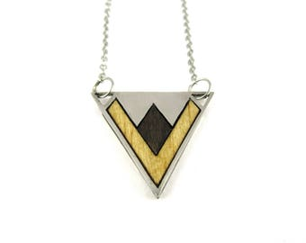 Triangular stainless steel necklace - Gometrical necklace - Gift for women