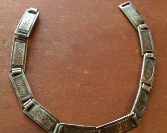 WWII Era Sterling Silver Forget Me Not Link Bracelet, Engraved Sweetheart Bracelet