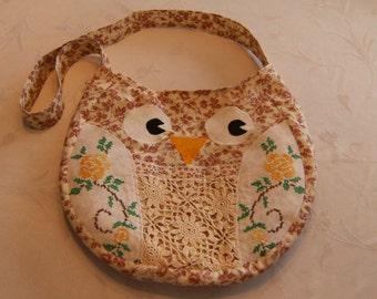 Teen/Girl's Owl Purse, Upcycled Owl Purse, Appliqued Owl Purse, Crossbody Owl Purse
