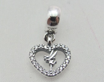 DISNEY LOVE TINKERBELL Charm/Dangle / Previously worn / Threaded / s925 Sterling Silver / Fully Stamped, signs of wear on Disney Stamp Side