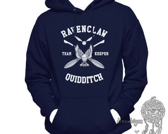 KEEPER - Ravenclw Quidditch team Keeper WHITE print printed on Navy Hoodie