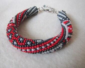 Beadwork bracelet, Beads crochet bracelet boho. Beaded rope bracelet. Harness bracelet, Seed Beads bracelet, beads crochet rope bracelet