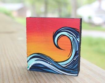 Mini Wave Painting on Wood Block