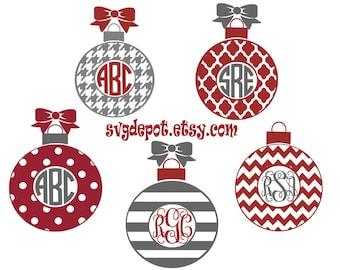 Christma ornament group svg file, monogram ornament svg, cut file, dxf file