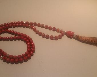 Carnelian and Red Coral 108 Bead Mala - Buddha Guru Bead