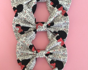 Minnie Mouse bow, Minnie words and heads bow, baby headband