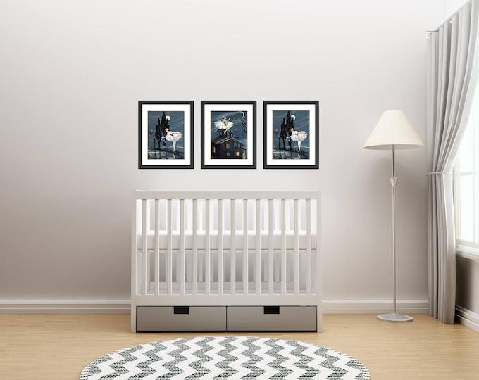 New Baby Girl Gift Set, Baby Girl Nursery Wall Art, Vintage Art Deco Ballerina Prints, Little Girl Decor