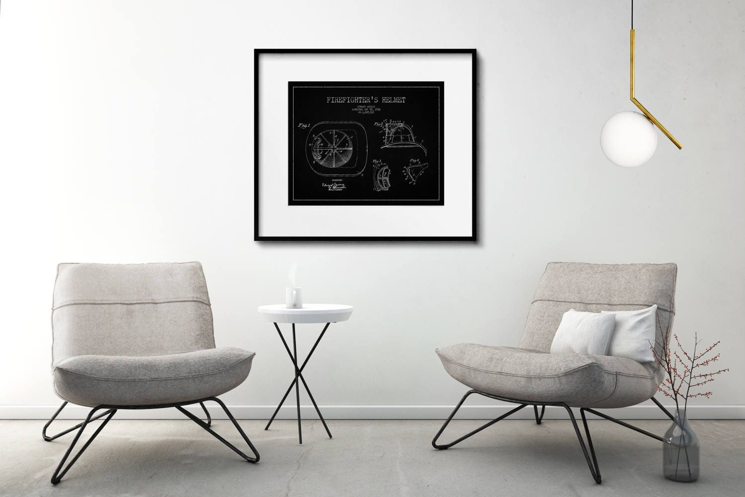 Firefighter Patent Print Matted And Framed Or Just Matted