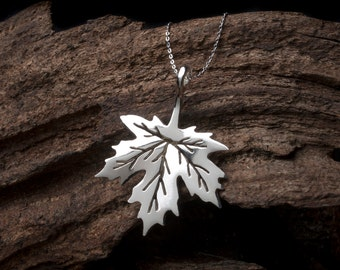 Maple Leaf Necklace in Sterling Silver, Leaf Necklace, Maple Leaf Pendant, Sterling Silver Maple Leaf, Silver Leaf