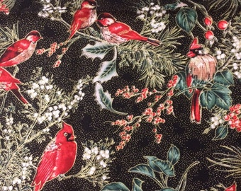 SALE Cardinals Holly Mistletoe Holiday Fabric BTY