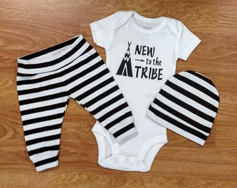 NEW to the TRIBE Going Home Outfit shower gift bodysuit pants hat black white stripe preemie coming home hospital photos baby boy tribal