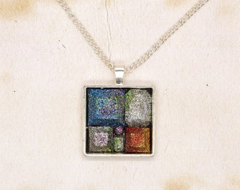 Glittery Resin Mosaic Cabochon Pendant On Silver Plated Chain Necklace