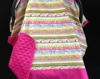 Car SeatCanopy/ Car Seat Cover/ Pink, Yellow, Green, Brown Owls