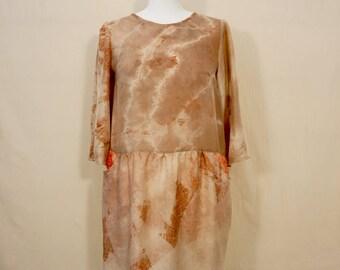 Dress short fluid 100% silk, printed, vegetable dye, contemporary boho, Piece Unique, T38 / M, HAPE