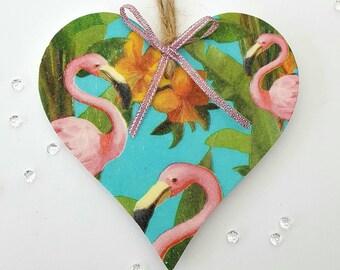 Flamingo heart. Flamingos. Decoupage hand made gift. Hanging heart gift. Home decor gift. Birthday gift for her. Bedroom decor. Birthday.