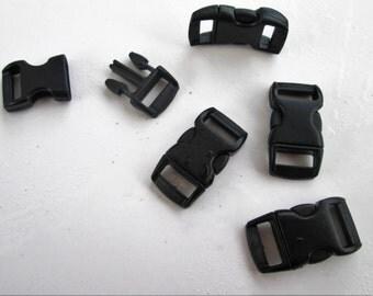 """On Sale! 40 pack 3/8"""" Contoured Side Release Buckles. Great for Black Webbing Straps, Woven Bracelets, Paracord Bracelet"""