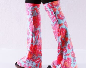 Turquoise and Orange Boot Covers/ Leg Warmers