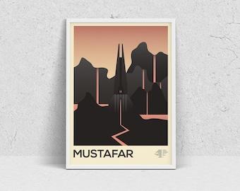 STAR WARS - MUSTAFAR, planet print, travel poster, movie poster, minimalist, fan art