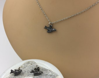 Silver Tone Bird Charm Necklace with Bird Post Earrings - Matching set