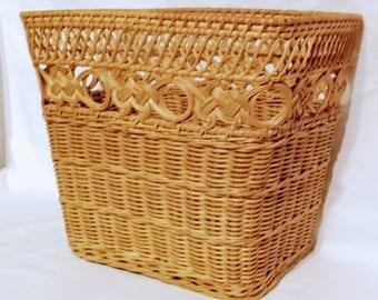 Natural Wicker Waste Basket - Honey Finish Rectangular Waste Paper Basket, Storage Basket, Woven Basket, Wicker Home Decor, Shabby Chic