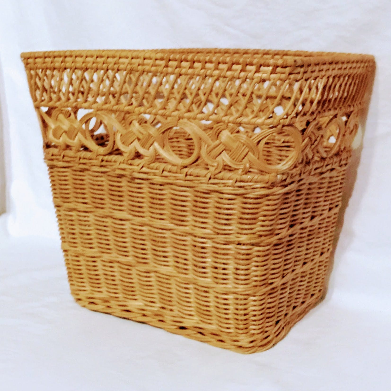 Natural wicker waste basket honey finish rectangular waste - Wicker trash basket ...
