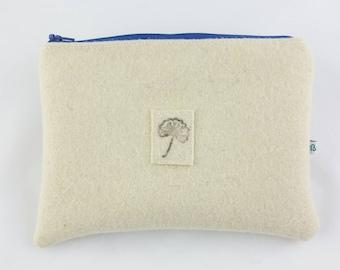 Stuff bag made of wool felt, felt cosmetic bag, bag made out of felt bags made of wool felt, small bag from felt, Burel, pouch