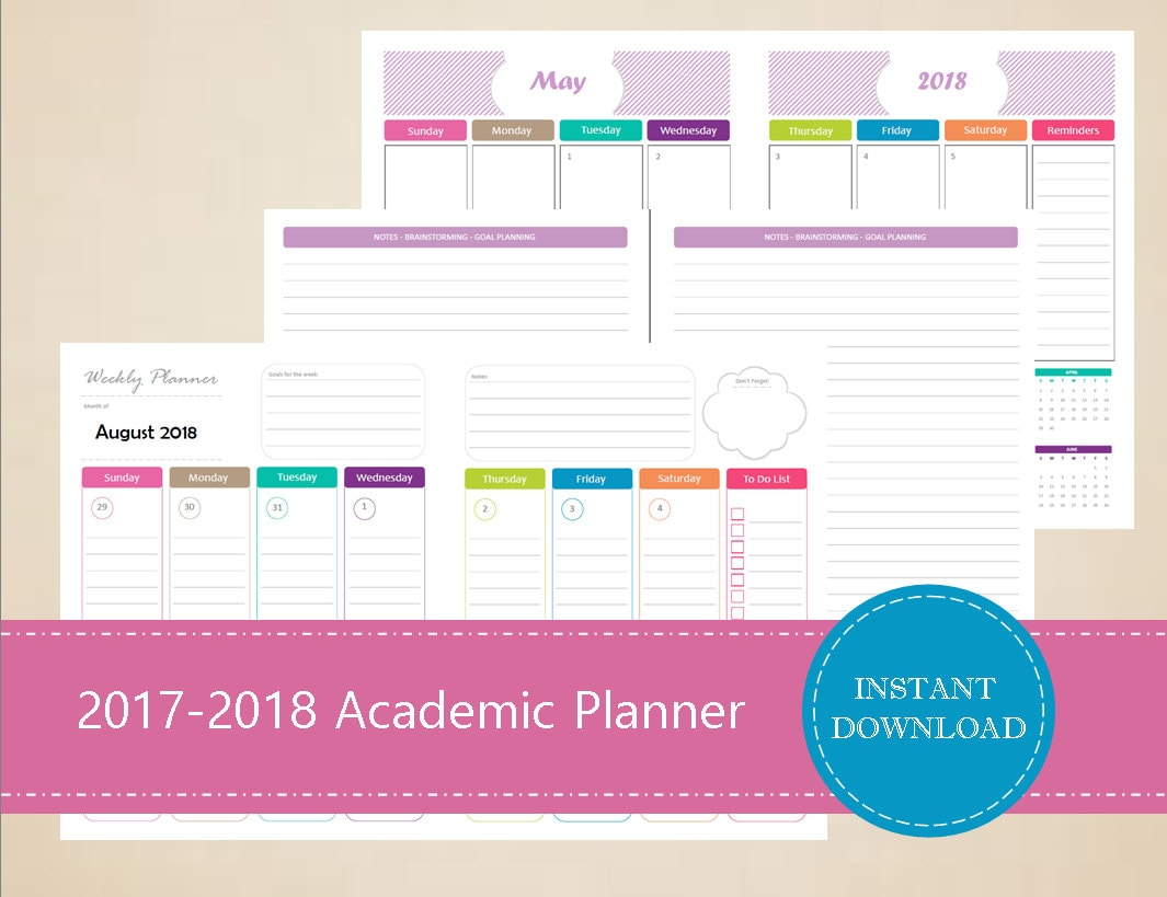 2017 2018 printable academic planner 2017 student planner. Black Bedroom Furniture Sets. Home Design Ideas