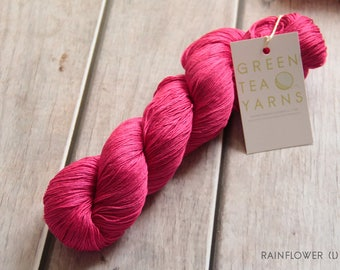 Rose Garden colourway on Rainflower lace 100% pure mulberry silk base, ooak, ready to ship, 750m/100gms, hand dyed