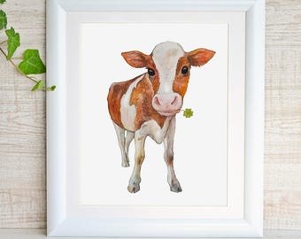 Cow Painting Cow Art Cow Watercolor Print for Nursery Farm Animal Nursery Print Baby Cow Calf Barnyard Nursery Decor Farmhouse Baby Boy Girl