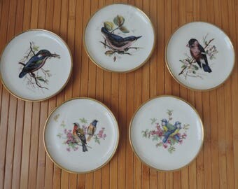 Kaiser Gold Rimmed Bird Coasters Vintage from West Germany