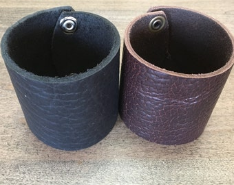 Extra Wide Bison Leather Cuff Bracelet