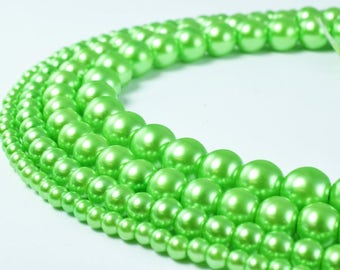 Spring Green Glass Pearl Beads Size 4mm/6mm/8mm/10mm Shine Round Ball Beads for Jewelry Making Item#789222046415