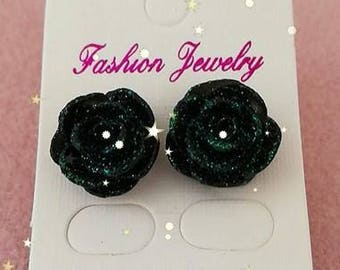 glitter flower studs made by us