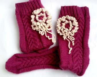 Hand-knitted Stockings Women's Stockings Gift Ideas for her Cyclamen Pink Flower Thick Stockings Socks Merino Wool