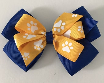 Royal Blue and Gold Hair Bow Blue and Yellow Paw Print Bow Royal Blue and Gold Paw Print Bow Blue and Yellow Bow Team Mascot Bows