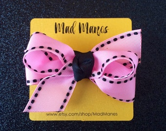 Pink with Black stitch twisted bow, pink bow, pink and black bow, pink and black hair accessories, pink and black baby bow, pink and black