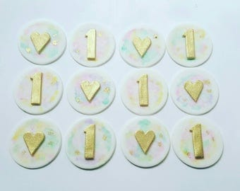 24 x water colour fondant baby shower birthday cupcake toppers