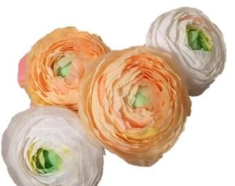 4 handmade crepe paper ranunculus