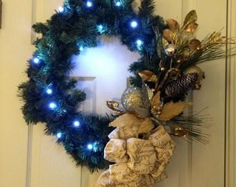 Christmas Wreath, Lighted Christmas Wreath, Evergreen Christmas Wreath, Poinsettia Wreath, Gold and Silver Christmas Wreath, Christmas Decor