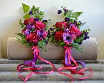 Purple & cerise bridesmaid bouquet